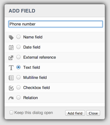 The 'add field' dialog